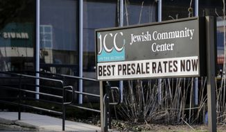 The Jewish Community Center is seen in Tarrytown, N.Y., Tuesday, Feb. 28, 2017. The latest in a wave of bomb threat hoaxes called into more than 20 Jewish community centers and schools across the country has again put administrators in the position of having to decide whether a threatening message on the other end of a phone line was enough to evacuate. (AP Photo/Seth Wenig) ** FILE **