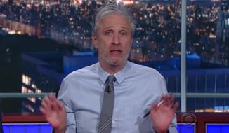 """Comedian Jon Stewart joined """"The Late Show With Stephen Colbert"""" Monday night to mock the media's obsession with President Trump. (CBS)"""