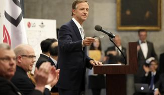 Tennessee Gov. Bill Haslam speaks during an announcement Tuesday, Feb. 28, 2017, in Nashville, Tenn. It was announced that South Korean appliance maker LG Electronics Inc. has selected Clarksville, Tenn., as the site for its washing machine plant in the United States. The 829,000-square-foot facility is projected to cost $250 million and create 600 new jobs. (AP Photo/Mark Humphrey)