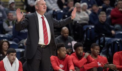 Ohio State coach Thad Matta yells to his players during the team's NCAA college game against Penn State on Tuesday, Feb. 28, 2017, in State College, Pa. (Abby Drey/Centre Daily Times via AP)