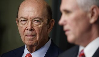 New Commerce Secretary Wilbur Ross listens at left he is introduced by Vice President Mike Pence during his swearing-in ceremony in the Eisenhower Executive Office Building on the White House complex in Washington, Tuesday, Feb. 28, 2017. (AP Photo/Evan Vucci)
