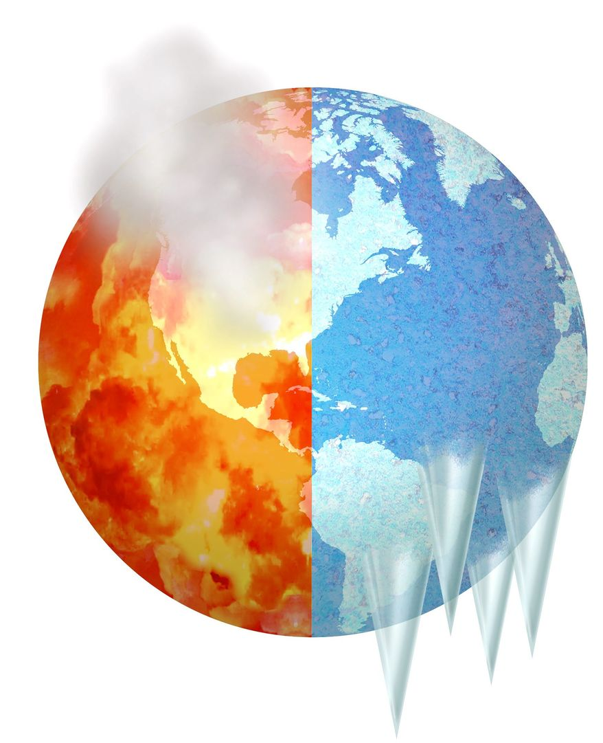 Illustration on the climate change debate by Alexander Hunter/The Washington Times