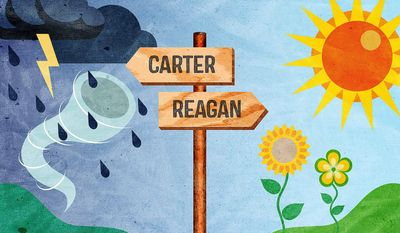 Illustration on the Carter vs. Reagan path by Greg Groesch/The Washington Times