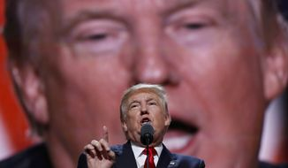 FILE - In this July 21, 2016 file photo, then-Republican Presidential Candidate Donald Trump speaks at the Republican National Convention in Cleveland. Trump has demonstrated more than once that he can project a more disciplined and presidential style when he wants, only to quickly slip back to his old ways.  (AP Photo/Carolyn Kaster, File)