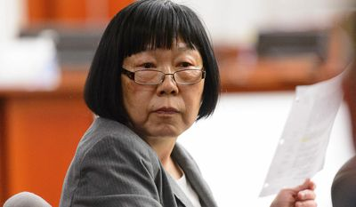 Salt Lake County prosecutor Chou Chou Collins looks on during former Utah Attorney General John Swallow's trial in Salt Lake City, Tuesday, Feb. 28, 2017. Swallow presented a brief defense Tuesday as one of the biggest political scandals in state history sped toward jury deliberations. (Trent Nelson/The Salt Lake Tribune via AP, Pool)