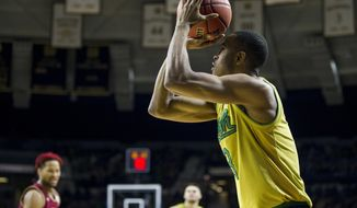Notre Dame's V.J. Beachem (3) shoots a 3-pointer during the first half of an NCAA college basketball game against Boston College Wednesday, March 1, 2017, in South Bend, Ind. (AP Photo/Robert Franklin)
