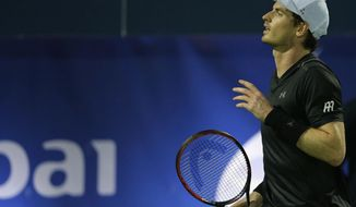 Andy Murray of Great Britain reacts in a match against Guillermo Garcia-Lopez from Spain during the Dubai Tennis Championships, in Dubai, United Arab Emirates, Wednesday, March 1, 2017. (AP Photo/Kamran Jebreili)