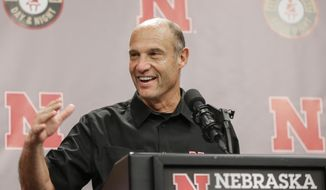 Nebraska head coach Mike Riley describes plans for spring practice during an NCAA college football news conference at Memorial Stadium in Lincoln, Neb., Wednesday, March 1, 2017. (AP Photo/Nati Harnik)