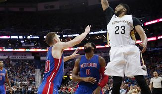 New Orleans Pelicans forward Anthony Davis (23) shoots during the first half of the team's NBA basketball game against the Detroit Pistons in New Orleans, Wednesday, March 1, 2017. (AP Photo/Gerald Herbert)