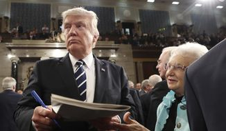 President Donald Trump leaves after speech to a joint session of Congress on Capitol Hill in Washington, Tuesday, Feb. 28, 2017. (Jim Lo Scalzo/Pool Image via AP)