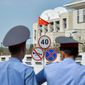 The Chinese Embassy in Kyrgyzstan was attacked by a suicide bomber last year. Ethnic Uighur militants from western China have started joining global Islamic extremists. (Associated Press)