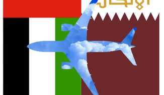 Illustration on unfair government subsidization of Persian Gulf airlines by Alexander Hunter/The Washington Times
