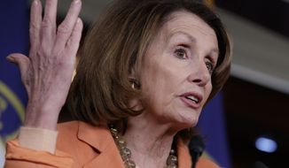 House Minority Leader Nancy Pelosi of Calif. speaks to reporters on Capitol Hill in Washington, Thursday, March 2, 2017, about news reports of Attorney General Jeff Sessions' contact with Russia's ambassador to the U.S. during the presidential campaign. (AP Photo/J. Scott Applewhite)