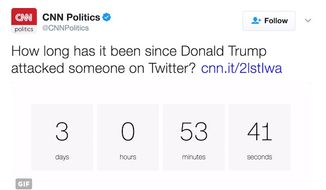 CNN has created a clock that tallies how long President Donald Trump has gone without issuing a personal attack on Twitter. (Twitter, CNN Politics)