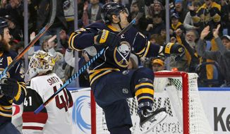 Buffalo Sabres Marcus Foligno (82) celebrates his goal during the first period of an NHL hockey game against the Arizona Coyotes, Thursday, March. 2, 2017, in Buffalo, N.Y. (AP Photo/Jeffrey T. Barnes)