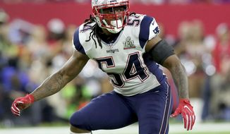FILE - In this Feb. 5, 2017, file photo, New England Patriots Dont'a Hightower folllows the action during NFL football's Super Bowl 51 against the Atlanta Falcons in Houston. The draft remains the most significant means by which to build and fortify a franchise. Yet, as the salary cap increases exponentially each year under the 10-year labor agreement reached in 2011, the lure of veterans on the open market can be powerful. (AP Photo/Gregory Payan, File)