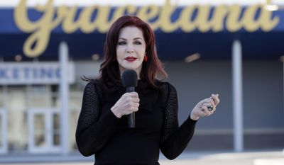 """Priscilla Presley, former wife of Elvis Presley, speaks during the grand opening of the """"Elvis Presley's Memphis"""" complex on Thursday, March 2, 2017, in Memphis, Tenn. Nearly four decades after Elvis sang his last tune, his legacy got a $45 million boost with the opening of a major new attraction at his Graceland estate -- an entertainment complex that Priscilla Presley says gives """"the full gamut"""" of the King of Rock 'n' Roll. (AP Photo/Mark Humphrey)"""