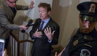 Sen. Rand Paul, R-Ky., holds an impromptu news conference outside a room on Capitol Hill in Washington, Thursday, March 2, 2017, where he charges House Republicans are keeping their Obamacare repeal and replace legislation under lock and key and not available for public view. (AP Photo/J. Scott Applewhite)