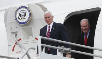 """Vice President Mike Pence, left, and Health and Human Services Secretary Tom Price arrive at Cincinnati/Northern Kentucky International Airport, Thursday, March 2, 2017, in Burlington, Ky. Pence visited Ohio to discuss healthcare and other issues while engaging in a """"listening session"""" with small business owners (AP Photo/John Minchillo)"""
