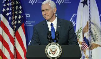 FILE- In this Feb. 24, 2017, file photo, Vice President Mike Pence speaks at the Republican Jewish Coalition annual leadership meeting in Las Vegas. Pence, the former governor of neighboring Indiana, on Thursday, March 2, is scheduled to visit Frame USA, which sells American-made picture frames from its base in a northern Cincinnati suburb. (AP Photo/John Locher, File)