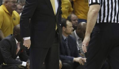 Wichita State's Head Coach Gregg Marshall takes issue with a referee's call while playing against Missouri State during the first half of an NCAA college basketball game Saturday, Feb 25, 2017, in Springfield, Mo. (AP Photo/Jason Connel)