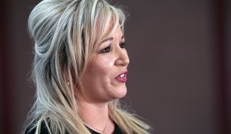 Sinn Fein's party leader for Northern Ireland Michelle O'Neill talks to the media after toping the poll in Mid Ulster, Ballymena count centre, Northern Ireland, Friday, March 3, 2017. Counting has begun across Northern Ireland with Irish Nationalists seeking to boost their vote in an early election that could shape the fate of the Catholic-Protestant cooperation in Northern Ireland. (AP Photo/Peter Morrison)