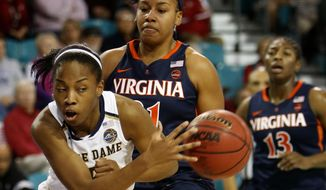 Notre Dame's Lindsay Allen, left, dishes the ball under the basket against Virginia's Lauren Moses, center, and Jocelyn Willoughby, at right, during the first half of an NCAA college basketball game in the Atlantic Coast Conference tournament at the HTC Center in Conway, S.C., Friday, March 3, 2017. (AP Photo/Mic Smith)