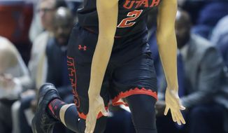 Utah guard Sedrick Barefield celebrates after scoring a 3-pointer against California during the first half of an NCAA college basketball game Thursday, March 2, 2017, in Salt Lake City. (AP Photo/Rick Bowmer)