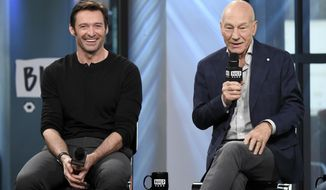 "Actors Hugh Jackman, left, and Patrick Stewart participate in the BUILD Speaker Series to discuss the film ""Logan"" at AOL Studios on Thursday, March 2, 2017, in New York. (Photo by Evan Agostini/Invision/AP)"