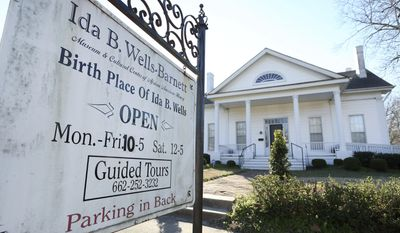 ADVANCE FOR THE WEEKEND OF MARCH 4-5 AND THEREAFTER - A Feb. 13, 2017 photo shows the Ida B. Wells-Barnett Museum in Holly Springs, Miss.  Holly Springs native Ida B. Wells-Barnett, was an African-American journalist and co-founder of the National Association for the Advancement of Colored People.(Adam Robison/The Northeast Mississippi Daily Journal via AP)