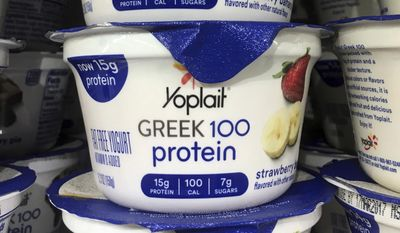 This Thursday, Feb. 23, 2017, photo shows Yoplait Greek yogurt on display at a supermarket in Port Chester, N.Y. A lawsuit in 2012 said Yoplait Greek was misleadingly marketed because it contained an ingredient not listed in the federal standard of identity for yogurt. The suit was dismissed. General Mills notes that it has since made recipe changes and that Yoplait Greek no longer includes the ingredient that prompted the lawsuit. (AP Photo/Donald King)