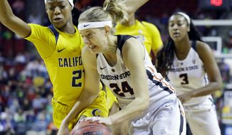 Oregon State guard Sydney Wiese (24) drives past California guard Mi'Cole Cayton, left, in the first half of an NCAA college basketball game in the Pac-12 Conference tournament, Friday, March 3, 2017, in Seattle. (AP Photo/Ted S. Warren)