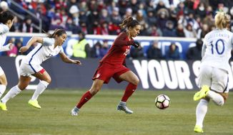 United States midfielder Carli Lloyd, center, moves the ball upfield against England during the first half of a SheBelieves Cup women's soccer match, Saturday, March 4, 2017, in Harrison, N.J. (AP Photo/Julio Cortez)