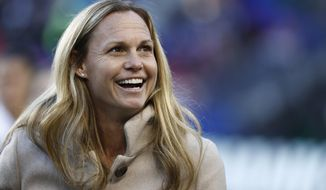 Former United States women's soccer player Christie Rampone reacts during a ceremony honoring her prior to a SheBelieves Cup women's soccer match between the United States and England, Saturday, March 4, 2017, in Harrison, N.J. (AP Photo/Julio Cortez)