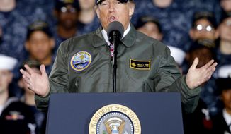 In this March 2, 2017, photo, President Donald Trump gestures as he speaks to Navy and shipyard personnel aboard nuclear aircraft carrier Gerald R. Ford at Newport News Shipbuilding in Newport News, Va. Facing a new wave of questions about his ties to Russia, Trump is telling advisers and allies that he may abandon, at least temporarily, his plan to pursue a deal with Moscow on the Islamic State group and other national security matters, according to administration officials and a Western diplomat. (AP Photo/Steve Helber)