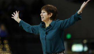 Notre Dame head coach Muffet McGraw yells to her players during the first half of an NCAA college championship basketball game against Duke in the Atlantic Coast Conference tournament in Conway, S.C., Sunday, March 5, 2017. (AP Photo/Mic Smith)