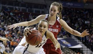 Stanford's Alanna Smith, right, defends Oregon State's Gabriella Hanson in the first half of the Pac-12 Conference championship NCAA college basketball game, Sunday, March 5, 2017, in Seattle. (AP Photo/Elaine Thompson)