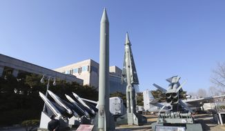 A mock North Korea's Scud-B missile, center left, and South Korean missiles are displayed at Korea War Memorial Museum in Seoul, South Korea, in this Feb. 2, 2017, file photo. North Korea on Monday, March 6, 2017, fired a projectile into the waters off its east coast, South Korea's military said, in an apparent missile test that comes days after Washington and Seoul began huge military drills that Pyongyang insists are an invasion rehearsal. (AP Photo/Ahn Young-joon, File)