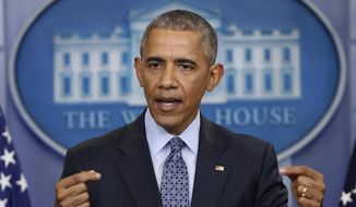 In this Jan. 18, 2017, file photo, then-President Barack Obama speaks during his final presidential news conference in the briefing room of the White House in Washington. (AP Photo/Pablo Martinez Monsivais, File)