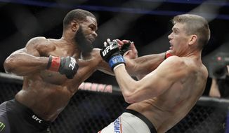 Tyron Woodley, left, hits Stephen Thompson in a welterweight championship mixed martial arts bout at UFC 209, Saturday, March 4, 2017, in Las Vegas. (AP Photo/John Locher)