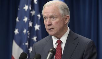 Attorney General Jeff Sessions makes a statement on issues related to visas and travel, Monday, March 6, 2017, at the U.S. Customs and Border Protection office in Washington. (AP Photo/Susan Walsh)