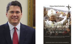 """Vince Haley, speechwriter to President Trump, alongside a documentary he produced--""""Nine Days that Changed the World."""""""