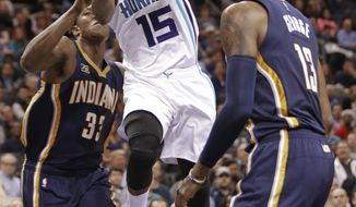 Charlotte Hornets' Kemba Walker (15) is fouled as he drives between Indiana Pacers' Myles Turner (33) and Paul George (13) in the first half of an NBA basketball game in Charlotte, N.C., Monday, March 6, 2017. (AP Photo/Chuck Burton)
