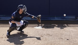 Milwaukee Brewers catcher Andrew Susac catches a ball before a spring training baseball game against the Cincinnati Reds Wednesday, March 1, 2017, in Phoenix. (AP Photo/Morry Gash)