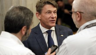 In this Feb. 28, 2017 photo, Knoxville, Tenn. businessman Randy Boyd talks with reporters in Nashville, Tenn. Boyd has announced that he will run for governor to succeed term-limited Gov. Bill Haslam next year. Boyd served as Haslam's economic development commissioner for two years. (AP Photo/Mark Humphrey)