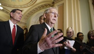 Senate Majority Leader Mitch McConnell of Ky., joined at left by Sen. John Barrasso, R-Wyo., speaks with reporters after meeting with Vice President Mike Pence as Republicans roll out their Obamacare replacement plan, Tuesday, March 7, 2017, on Capitol Hill in Washington. (AP Photo/J. Scott Applewhite)