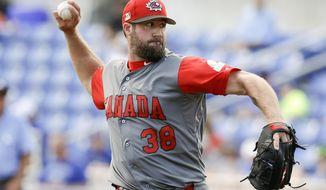 Canada pitcher Eric Gagne throws against the Toronto Blue Jays in the fourth inning of an exhibition baseball game, Tuesday, March 7, 2017, in Dunedin, Fla. (AP Photo/John Raoux)