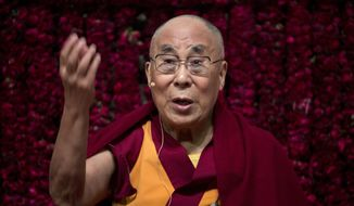 """FILE - In this Sunday, Feb. 5, 2017, file photo, Tibetan spiritual leader the Dalai Lama speaks on """"Reviving Indian Wisdom in Contemporary India' at a public event in New Delhi, India. Chinese Foreign Ministry spokesman Geng Shuang Tuesday dismissed the Dalai Lama as """"deceptive"""" after the exiled Tibetan spiritual leader criticized some Beijing leaders in an interview with British comedian John Oliver. (AP Photo/Tsering Topgyal, File)"""