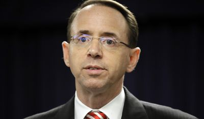 FILE - In this March 1, 2017, file photo, U.S. Attorney for the District of Maryland Rod J. Rosenstein speaks at a news conference in Baltimore. Rosenstein faces his confirmation hearing for the role of deputy attorney general and will appear March 7 before the Senate Judiciary Committee. (AP Photo/Patrick Semansky, File)