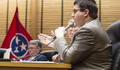 Rep. Eddie Smith, R-Knoxville, argues against delaying consideration of Gov. Bill Haslam's road funding proposal during House Transportation Committee meeting in Nashville, Tenn., on Tuesday, March 7, 2017. The committee later voted to delay consideration of the measure until next week. (AP Photo/Erik Schelzig)